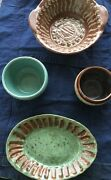 Studio Pottery Drip Glaze  Bowls  Great Colors Teal Brown Blue Lot of 4 Signed
