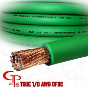10 Ft True Awg 1/0 Gauge Ofc Copper Power Wire Green Ground Cable Gp Car Audio