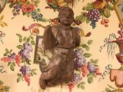 Antique 17th-18th Century French Wooden Wall Statue Fragment Hand Carved Church