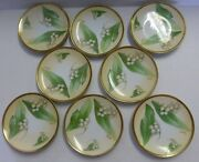 "O & EG Royal Austria Antique 6"" Saucer Plate Lily of Valley Artist Signed 8ct"