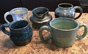 5 Blue Vintage Pottery Pieces Bowl Creamer Mugs Cups Signed Pretty