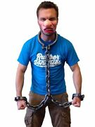 Neck And Hands Shackles Prisoner Convict Chains Ball And Chain Fancy Dress Accessory