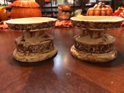 Vintage Sitka Clay Pottery Candle Holders Made in Alaska Signed by Artist