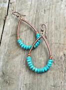 Turquoise And Copper Hoop Earrings Turquoise Jewelry Copper Earrings