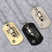 Military Mens Army Bullet Charm Dog Tags Single Embossed Chain Pendant Necklace