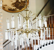 Antique Crystal And Brass Chandelier Rectagular Prisms Gorgeous