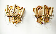 Pair Rare Italian Beaded Florentine Carved Wood And Tole Sconces Opaline Prisms