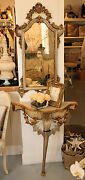 Italian Carved Demi Lune Table And Mirror Antique Rare