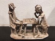 Vintage Dino BENCINI Pottery Sculpture Two Men Playing Game Signed - Italy