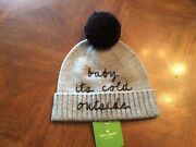 Nwt Kate Spade New York Womens Baby Itand039s Cold Outside Beanie Grey/black Rare