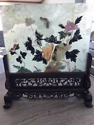 Antique Chinese Oriental Decorative Jade Table Screen With Ornate Wood Stand.