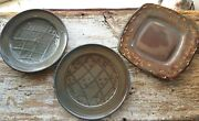 3 VTG Art Pottery Stoneware Dinner Plates Round &Square Brown Lot Signed