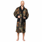 Mens Ultra Soft Plush Coral Fleece Belted Lounge Robe- Bath Robe- Camo And Black