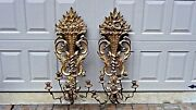 Pair Of Italian Renaissance Style1920c Hand Carved Gilt 5 Arms Wall Sconces