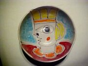 VINTAGE GIOVANNI DESIMONE ITALY HAND PAINTED BOWL WOMEN WITH YELLOW CROWN #65