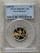 1995w Olympic Torch Runner 5 Gold Coin Pr 69