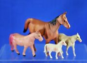 Four Vintage Viscoloid And Celluloid Horses Various Sizes