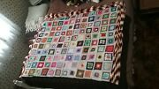 Heirloom Bedspread Picture-frame Granny Squares Pictured In 1/2 And 1/4 Views