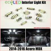 Fits 2014-2016 Acura Mdx White Led Interior Light Accessories Package Kit 14 Pcs