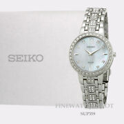 Authentic Seiko Ladies Stainless Steel Crystals Solar Watch Sup359