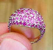14k Yellow Gold Round Cut Pink Sapphire Ring Eternity Style Pave Pinky 2.00ctw