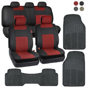 Pu Leather Car Seat Covers And All Weather Rubber Floor Mats - Full Interior Set