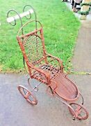Vintage Wicker Baby Doll Stroller Carriage Buggy For Child's Dolly Ornate