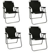4 X Portable Folding Chair For Outdoor Camping Fishing Picnic Beach Seat Black