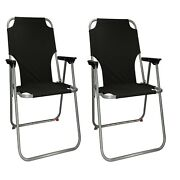 Black 2x Portable Folding Chair For Outdoor Camping Fishing Picnic Beach Seat