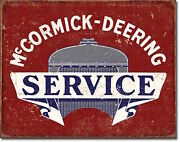 Mccormick Deering Tractor Service Vintage Farm Picture Tin Metal Sign Decor Gift