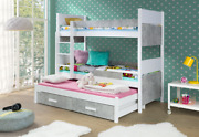 New Bunk Bed Pinochet With Mattresses Triple Bed Many Colours With Trundle Bed