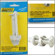 Seachoice Watertight Cable Cord Wire Pass Thru Hull Fitting White 17921