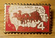 Usa Usps Postage Stamp Lapel Pin 1958 4c First Overland Mail Route Centennial