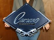 Camaro By Chevrolet Crossed Pistons Carbon Fiber Metal Sign 25x19 Inches