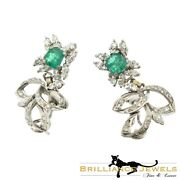 Magnificent Vintage Diamond And Emerald Statement Earrings Palladium Gold 4 Tcw