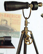 Magnificent Artillery Officers Monocular On Leather Covered Adjustable Tripodandnbsp