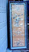 Antique Tao-kwang Dy. Chinese Silk Embroidery Panel Double Wood Frame W/glass
