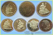 Usa. Fantasy Dollas In Gilt Base Metal Total 7 Coins