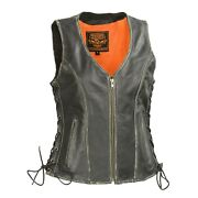 Milwaukee Leather Womenand039s Distressed Grey Zipper Front- Gun Pockets Vestmll4517
