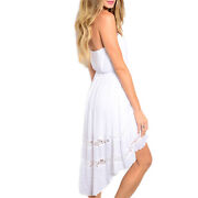Finesse Strapless Hi-low Rayon Blend Lace Panel White Summer Dress