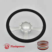14 Billet Full Wrap Satin 9 Hole Steering Wheel Kit W/ Horn Button And Adapter