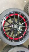 Set Of 4  - 20 Savini Forged Wheels And Tires Used Dodge 5-115 Black / Red
