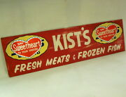 Vtg Amazing Huge Kist Grocery Sign Hearts Say Sweetheart To Your Grocer