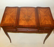 Antique French Vanity Poudreuse Commode Inlaid Flower Basket Marquetry France