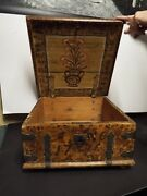 1786 Swedish Hand Painted Bible Box - Iron And Wood- Hand-forged Iron Bands-nice