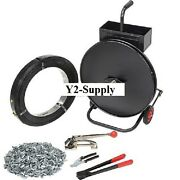 Industrial 1/2w 2940' Steel Strapping Kit With Tensioner, Sealer, Seals And Cart