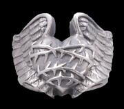 Huge Heavy Wings Heart Angel Love Faith 925 Sterling Solid Silver Mens Ring