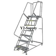 New Grip 24w 7 Step Steel Rolling Ladder 21d Top Step- Lock Type A