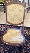 Antique Victorian Dark Wood Folding Rocking Chair Tapestry Seat And Back