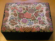Vintage Antique Chinese Berlinpoint And Padded Silk Vanity Jewelry Box Asis 7x9x4